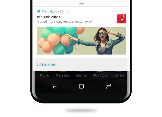 wynk music app push notification