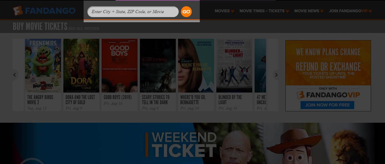 Online movie ticket booking app_Location