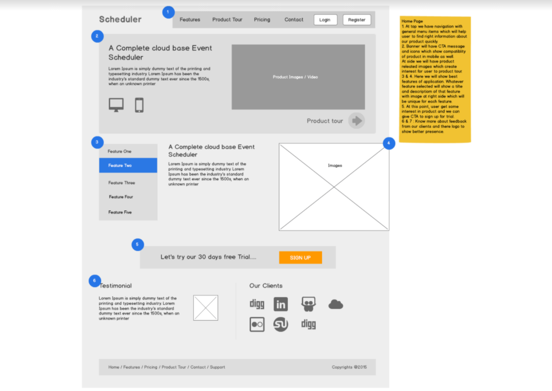 Example of creating wireframes_UX design process